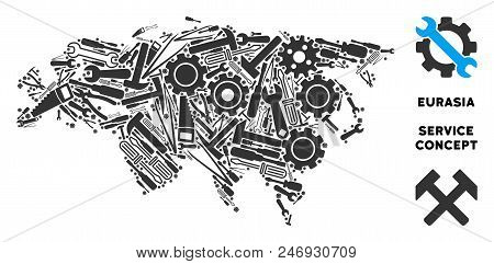 Repair workshop Eurasia map mosaic of instruments. Abstract geographic plan in grey color. Vector Eurasia map is constructed with cogwheels, screwdrivers and other technical items. poster