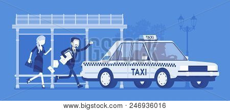 People Catching Taxi Vector & Photo (Free Trial) | Bigstock