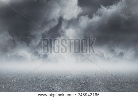 Abstract Gray Dull Cloudy Sky Background, Close Up