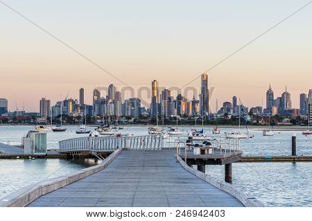 Melbourne City Skyline Seen From St Kilda Pier At Sunrise, In Melbourne, Australia.