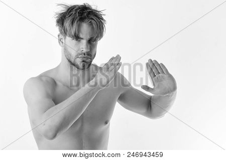 Man With Confident Face And Bristle Isolated On White Background. Healthy Lifestyle And Jujitsu Conc