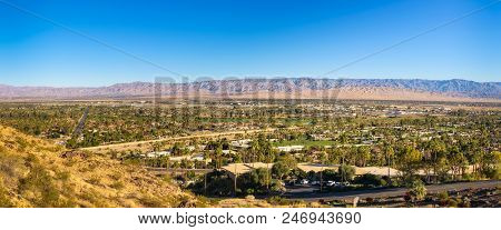 Panorama Of Palm Springs In California, Usa. It Is A Desert Resort City In Riverside County Within T