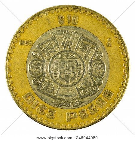 Ten Mexican Peso Coin (1998) Isolated On White Background
