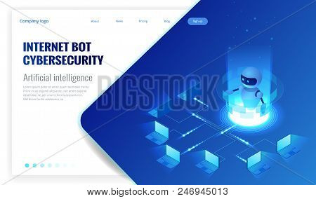 Isometric Internet Bot And Cybersecurity, Artificial Intelligence Concept. Chatbot Free Robot Virtua