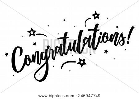 Congratulations. Beautiful Greeting Card Poster, Calligraphy Black Text Word Star Fireworks. Hand Dr