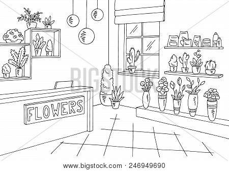 Flower Shop Interior Graphic Black White Sketch Illustration Vector