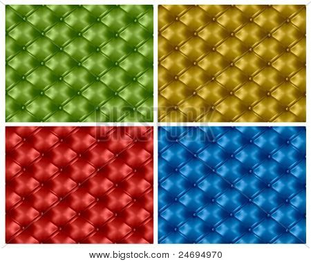 Four colorful button-tufted leather backgrounds. Vector illustration.