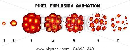 Pixel Art Explosions. Game Icons Set. Comic Boom Flame Effects For Emotion. 8-bit Vector. Bang Burst