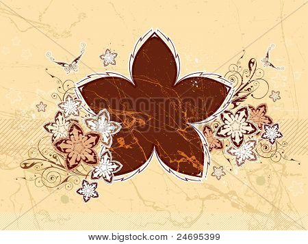 Floral background. Flowers & butterflies. Chocolate vanilla color. Bitmap copy my vector id 9964663
