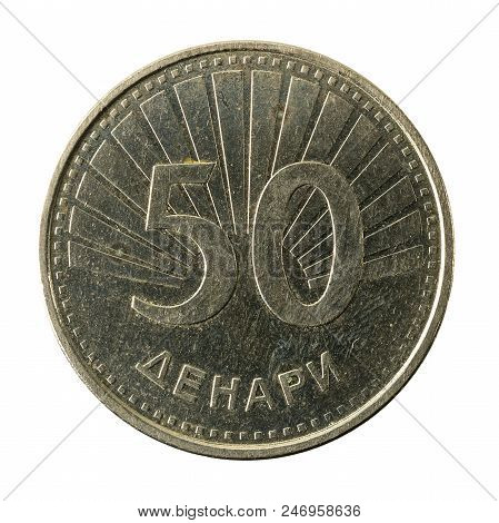 50 Macedonian Denar Coin (2008) Obverse Isolated On White Background