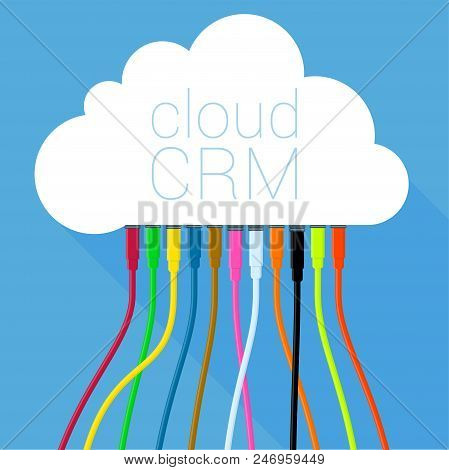 Cloud Crm Solution  Customer Relationship Management Online Business Process Solution Vector Icon Fl