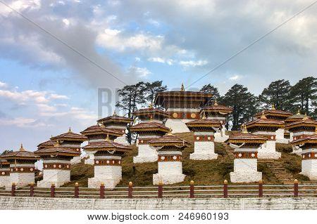 Druk Wangyal Chortens In The Dochula Pass, Bhutan