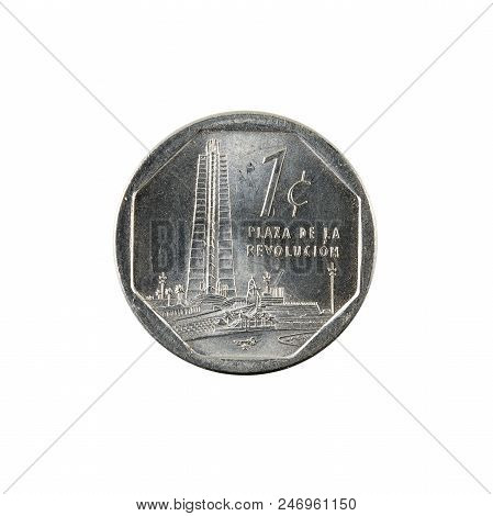 1 Cuban Centavo Coin (2005) Obverse Isolated On White Background
