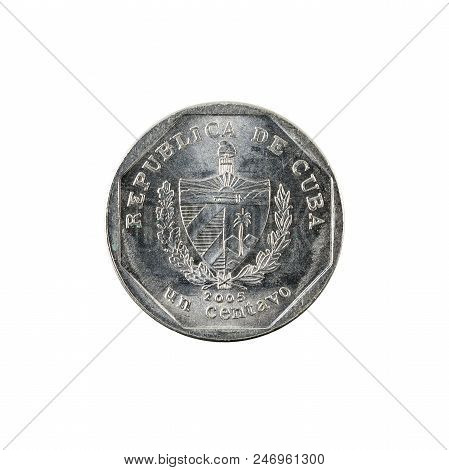 1 Cuban Centavo Coin (2005) Reverse Isolated On White Background