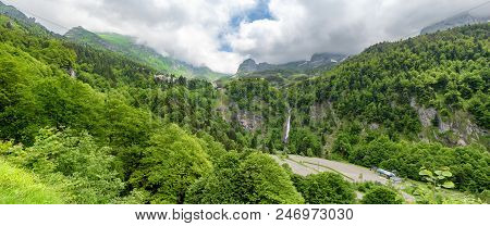 A Panorama Of The Village Of Gourette In The French Pyrenees