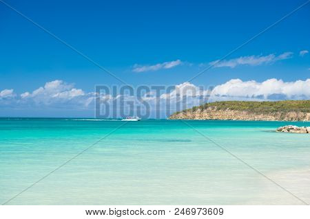 Sky With Clouds Over Calm Sea Beach Tropical Resort. Boat Touristic Ship In Turquoise Ocean Lagoon.