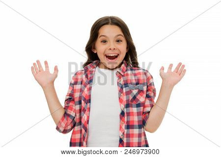Pleasant surprise. Kid happy loves pleasant surprises. Child surprised smile isolated white background. Kid girl long curly hair surprised happy. Girl curly hairstyle adorable wondering face. poster