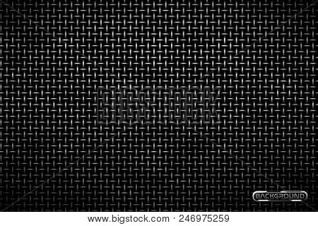 Vector Pattern Of Metal Grid Techno Background. Iron Grill Industrial Texture. Web Page Fill Pattern