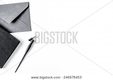 Writer Tools With Envelope In Profession Concept On White Desk Background Top View Mock-up