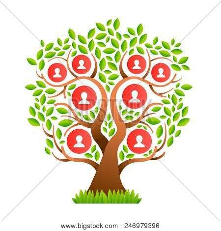 Family Tree Template Concept With People Icons And Colorful Green Leaves For Life Generations Histor