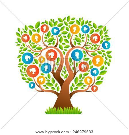 Family Tree Template Concept With People Icons Of Man And Woman Portraits. Social Community Symbols.