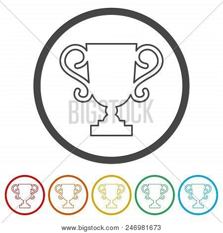 Trophy Sign Icon ,trophy Cup, Award, Vector Icon, 6 Colors Included