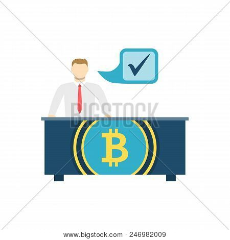 Otc Bitcoin Trading, Verified Money Exchange Centre Flat Related Vector Icon. Isolated On White Back
