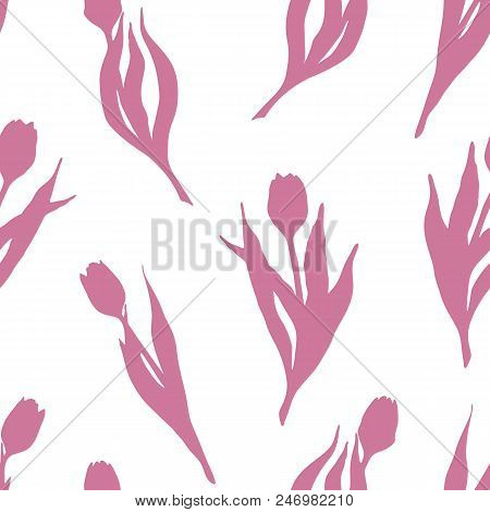 Tulip Spring Flower Silhouette Pink Seamless Pattern Texture Background Wallpaper Vector