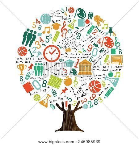 Tree Made Of Highschool Subject Icons And Symbols, Global Education Concept. Educational Illustratio