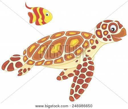 Funny Sea Loggerhead Turtle And A Small Striped Butterfly Fish Swimming Together, Vector Illustratio