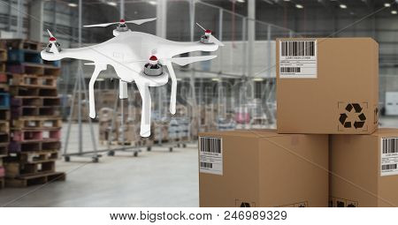 Digital composite of Drone flying in warehouse with delivery parcel boxes
