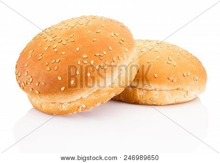 Two Hamburger Buns With Sesame Isolated On White Background