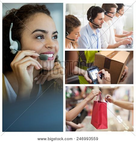 Digital composite of Smiling call center employees