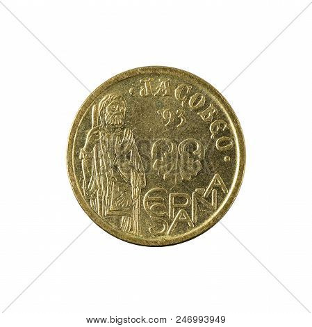Five Spanish Peseta Coin (1995) Isolated On White Background