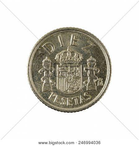 Ten Spanish Peseta Coin (1984) Isolated On White Background