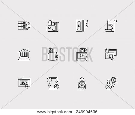 Money Payment Icons Set. Online Payment And Money Payment Icons With Deposit, Money Transfer And Coi