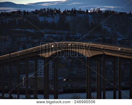 Bridge Of City Tromso, Norway, Winter Time