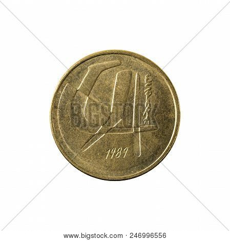Five Spanish Peseta Coin (1984) Obverse Isolated On White Background