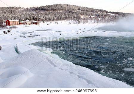 Hotel Storforsen In Winter, North Of Sweden