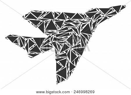 Airplane Intercepter Mosaic Of Triangle Items In Different Sizes And Shapes. Vector Polygons Are Com