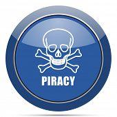 Piracy skull round glossy web icon. Blue circle pushbutton illustration on white background. poster