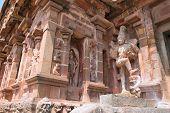 Dwarapala and deities in niches, southern entrance, Brihadisvara Temple, Tanjore, Tamil Nadu, India poster