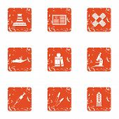 Difficult material icons set. Grunge set of 9 difficult material vector icons for web isolated on white background poster