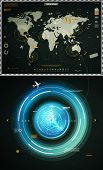 infographics elements of the world map, and sonar poster