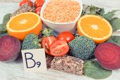 Nutritious different ingredients containing vitamin B9, dietary fiber, natural minerals and folic acid, healthy nutrition concept poster