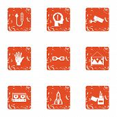 Rational icons set. Grunge set of 9 rational vector icons for web isolated on white background poster