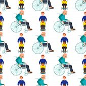 Disabled handicapped diverse people wheelchair invalid person help disability characters vector illustration. Support life disable medical assistance seamless pattern background. poster