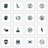 Sign icons set with electrocution hazard, beware of opening door, headwear and other caution elements. Isolated vector illustration sign icons. poster