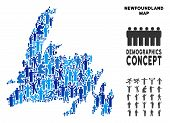 Vector population Newfoundland Island map. Demography abstraction of Newfoundland Island map made of crowd with variable poses. Demographic map in blue tinges. poster
