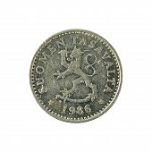 10 finnish penni coin (1986) reverse isolated on white background poster